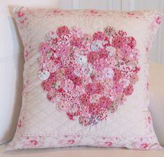 My shabby heart, textured cushion cover dark pinks.