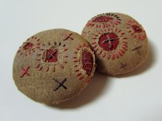 Embroidered Fiber Art Buttons - Rustic - Hand Stitched. $28.00, via Etsy.