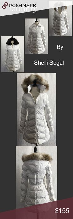 """Laundry by Shelli Segal • Puffer Coat Excellent used condition. Have 3 different looks! Beautiful white long Puffer Coat. Detachable zipper hoodie with faux fur trim. Detachable buttoned real black mink fur collar. 2 zip pockets. Approximately 33"""" long. Zip closure. Laundry By Shelli Segal Jackets & Coats Puffers"""