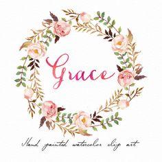 Aquarelle florale Couronne-Grace /Individual fichiers PNG / peint à la main