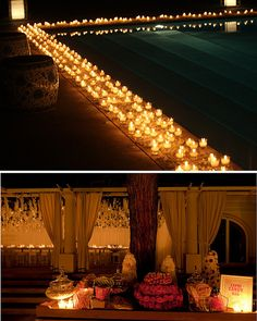 Candle light poolside reception