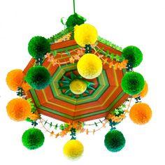 Pająk - Folk Chandelier in orange made of straws, tissue paper, and wool by polish folk artist.