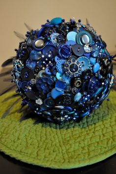 Blue Custom Button Bouquet with Feathers