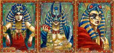 Egyptian gods: Sekhmet, Anubis, Horus by BohemianWeasel Classic Mythology I trading card set Perna Studios deck movie comic book cover art cards poster packaging advertising marketing | Create your own roleplaying game material w/ RPG Bard: www.rpgbard.com | Writing inspiration for Dungeons and Dragons DND D&D Pathfinder PFRPG Warhammer 40k Star Wars Shadowrun Call of Cthulhu Lord of the Rings LoTR + d20 fantasy science fiction scifi horror design | Not Trusty Sword art: click artwork for…