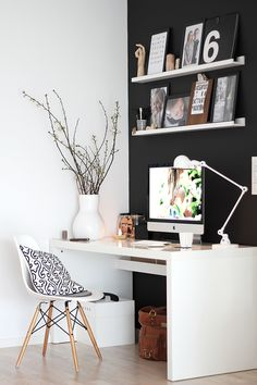 love the idea of a gallery wall above the desktop