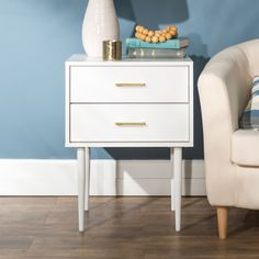 20 Olivia Two Drawer Side Table White - Saracina Home Grey Side Table, White End Tables, Modern Side Table, Side Tables, Olivia White, Side Table With Storage, White Nightstand, Farmhouse Side Table, Black Bedding