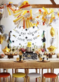 Head party table from a Where the Wild Things Are 1st Birthday Party on Kara's Party Ideas | KarasPartyIdeas.com (19)