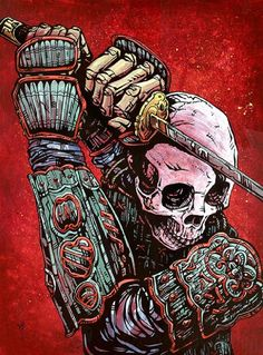 Strength by David Lozeau Samuari Warrior Sword Canvas Fine Art Print