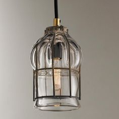 Hand-Blown Glass Cage Pendant - Shades of Light