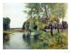 River Landscape in Summer Giclee Print by Ernest Parton at Art.com