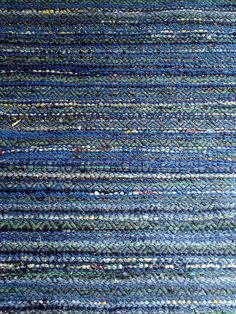Blue rug by imcarmel, via Flickr, double rosepath threading, pick of black rug warp in between rag picks