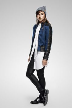 Moto-inspired jacket in elegant wool-blend twill with contrast panels, oversized menswear-inspired shirt with a low hem for a long and lean look and a Lynn skinny in raw superstretch denim. https://www.g-star.com/collection/women/raw-correct
