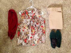 Fall Work: Talbots blouse, Cira red coverup, Banana Republic camel pants, Gap green loafers, Talbots brown dress socks