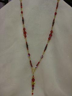 Fiery Red Pearl Crystal and Genuine Tiger Eye by JadedJewelsUK, £15.00