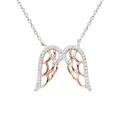 EleQueen 925 Sterling Silver Full Cubic Zirconia Double Angel Wing Pendant Necklace Clear 16513 Extender >>> Click image for more details.(This is an Amazon affiliate link and I receive a commission for the sales)