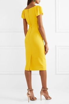 8fd6e40421523a Bright-yellow crepe Hook and concealed zip fastening at back 51% viscose