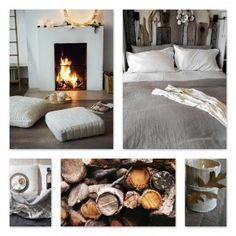 Winters, haardvuur/houtblokken