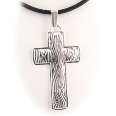 925 Sterling Silver Embossed Cross Pendant Rubber Cord Necklace 20 Inch Pendants by Joyful Creations. $13.99