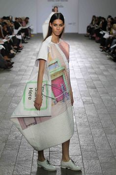 Carrie-Ann Stein, 'Look 1′ Garment has a knitted front and a canvas back. The yarns were made from polyester sourced from Denmark, the U.S.A. and the U.K. Polyester threads work best for sublimation printing. The garments are made up of five layers front and back to give them the stiffness. (Images and information are on the Perry Nelvill website)