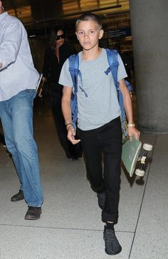 The Beckham family departs from LAX airport in Los Angeles, California on August…