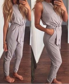 Stylish Round Collar Solid Color Lace-Up Sleeveless Jumpsuit For Women Jumpsuits & Rompers | RoseGal.com Mobile