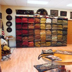 Wooly Woolens' studio - what a wall of wool!