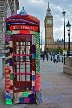 Imagine a park in the middle of a city, where many objects would have been crocheted in different colors...   Everything looks so more comfy with a bit of wool. : ) Guerilla crochet art has been quite popular this past year. Here are a few examples found on Google.