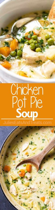 Homemade Chicken Pot Pie Soup Recipe – A Hearty Soup Full of Veggies and Chicken. Just like a Classic Pot Pie Except so Much Easier to Make!