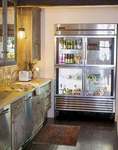 modern rustic chic with a glass fridge! Rustic Kitchen, Kitchen Decor, Glass Door Refrigerator, See Through Refrigerator, Refrigerator Organization, Boho Home, Commercial Kitchen, Luxury Kitchens, Modern Kitchens