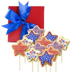 Patriotic Star Cookie Pops 12Pc: Great Gift