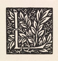 Love is Enough - 'L' entwined with Laurel Leaves, William Morris, 1866-7. Presented to the Art Gallery by Mrs W. Harris in 1913 #bmag130