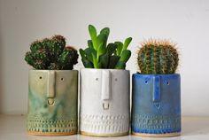 little cactus men. Small Succulent Plants, Cacti And Succulents, Planting Succulents, Indoor Garden, Indoor Plants, Cactus Pot, Plants Are Friends, Cactus Y Suculentas, Ceramic Pottery