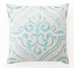 District17 Robin's Egg Tile Linen Embroidered Pillow