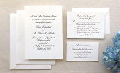 The Conservatory Suite - Formal Letterpress Wedding Invitation Suite, Script, Classic, Timeless, Elegant, Traditional, Black, Grey, White