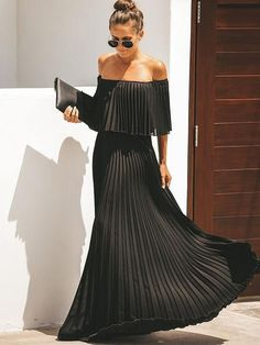 Women Bohemian Off Shoulder Pleated Maxi Dresses Party Dresses For Women, Sexy Dresses, Dresses With Sleeves, Casual Dresses, Blue Summer Dresses, Blue Dresses, Pleated Dresses, Look Fashion, Dress Up