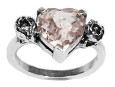 Sterling Silver Heart Stone with Side Roses by MetalCoutureJewelry, $350.00