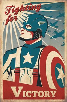Captain America Retro propaganda poster based on the 2011 movie. By Ollie Boyd - Visit to grab an amazing super hero shirt now on sale! Captain America Poster, Capt America, America Movie, Ms Marvel, Comic Books Art, Comic Art, Comic Kunst, Art Vintage, Vintage Decor