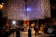 Double Tier Beaded Chandelier, Custom Monogram GOBO, and GOBO Wash at Palm Event Center
