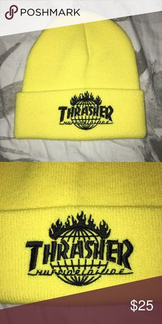Yellow Huf x Thrasher Tour De Stoops Beanie Brand New in new condition HUF Accessories Hats