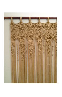 Shipping time: 3-4 weeks. Large Macrame Curtain made with 4mm polypropylene cord. Color : beige.  Width : 38 inches ; Lenght: 86 inches ;  Width : 38 inches ; Lenght: 92 inches ;  Would work wonderfully as doorway curtain, as wedding backdrop, window curtain.  Looking for something else: check this out: https://www.etsy.com/shop/mislanascreativas?  Thank you for visiting my shop