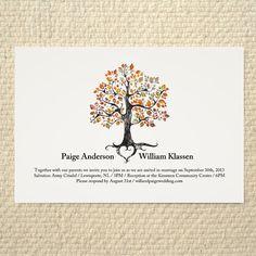 Fall / Autumn Wedding Invitation - Rustic Woodland Tree - DIY Printable PDF Template - Orange on Etsy, $25.00