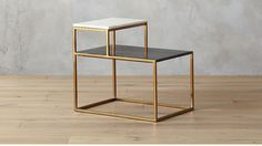 2 tone marble side table | CB2; Nightstand?