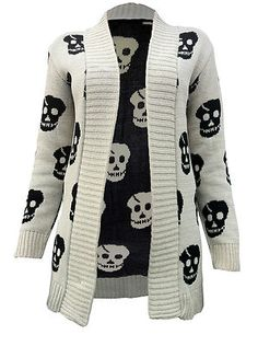 Ladies 8 14 Long Skull Cross Cardigan Knitted Aztec Boyfriend Jumpers Head Tops | eBay