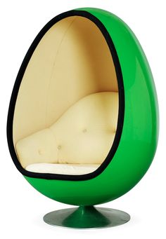 Henrik Thor-Larsen- Ovalia easy chair, Sweden 1968 Lacquered fiberglass, upholstery, polished aluminum (130 cm)