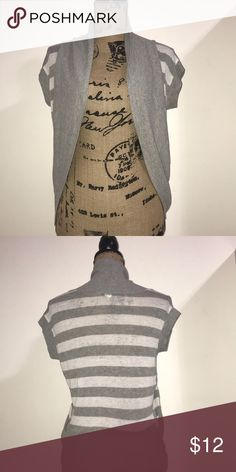 BASIC Grey and White Striped Cardigan Short sleeved ribbed cardigan on great condition Sweaters Cardigans
