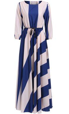 Blue White Long Sleeve Striped Pleated Maxi Dress 27.00