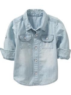 Chambray Rolled-Sleeve Shirts for Baby Product Image