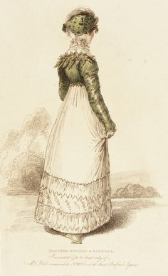 1814 June. Lady's Gown Back View, with Blucher Bonnet and Spencer. Fashion plate, hand-colored engraving on paper, published by John Bell, London. collections.lacma.org