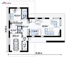 Zx70 to wyjątkowy dom z kategorii projekty domów jednorodzinnych Arch House, Home Projects, Sweet Home, Floor Plans, Diagram, House Design, How To Plan, Mansions, Architecture