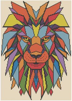 Geometric Lion  Counted Cross Stitch Pattern X-Stitch PDF